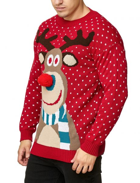 Festive Christmas Rudolph The Red Nosed Sweater Red