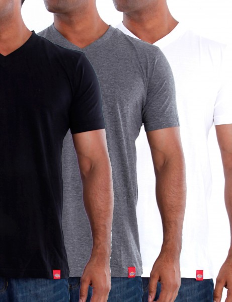 V-Neck MC T-Shirts 3 Pieces Pack Grey