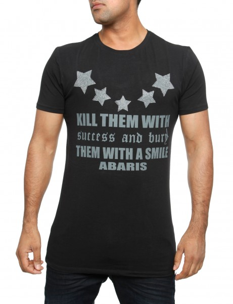 Kill them with a Smile T-Shirt Herren Oberteil T-Shirt 13-2028_Black Hip hop Tee