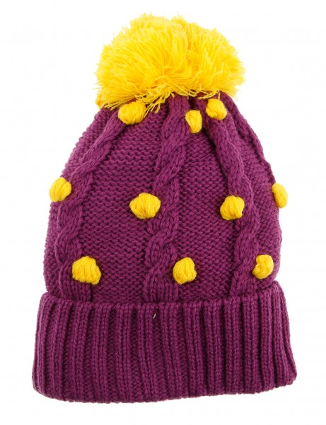 Cityhunter Ck1060 Water Drop Cable Pom Pom Knit Hat Yellow Purple