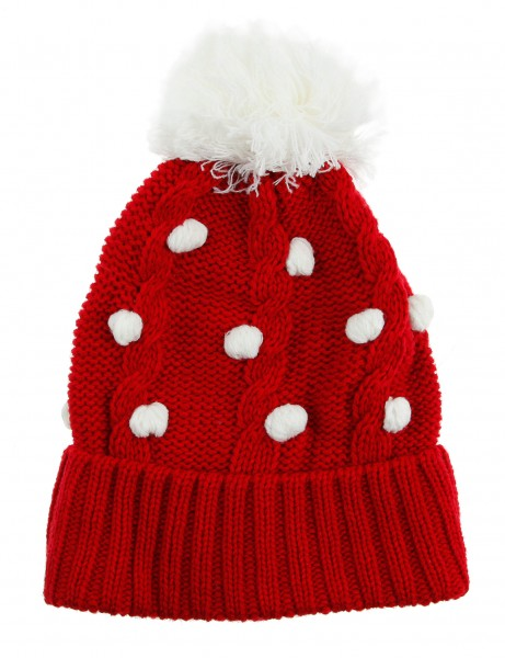 Cityhunter Ck1060 Water Drop Cable Pom Pom Knit Hat White Red