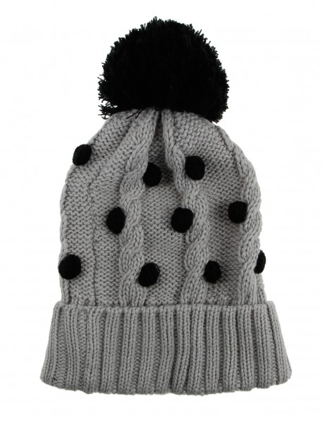Cityhunter Ck1060 Water Drop Cable Pom Pom Knit Hat Black Grey