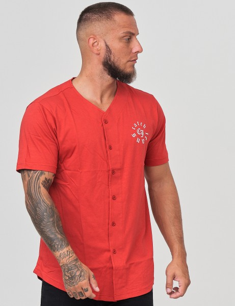 French Fashion Y-409 Mens Button Down T-Shirt Red