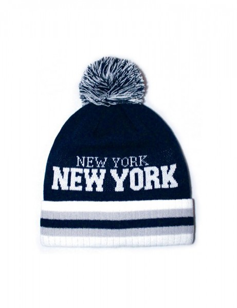 New York Stripe City Pom Pom Beanie Navy