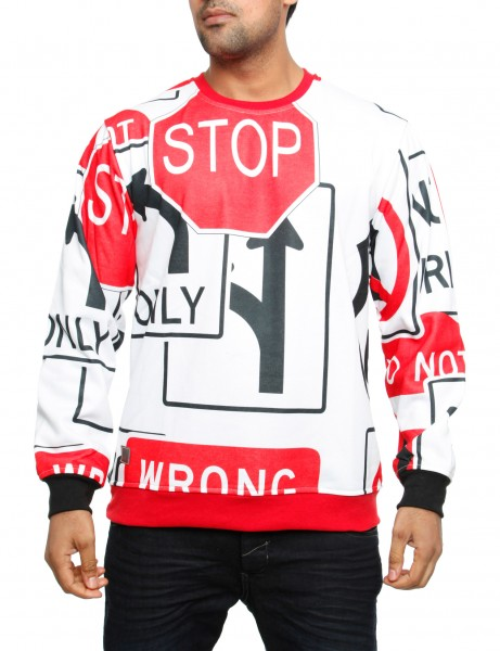 Imperious Road Sign Sweatshirt CS526 White