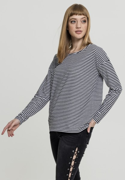 Urban Ladies Oversize Longsleeve White/Black TB1914-01248 White