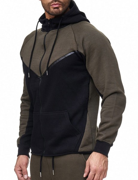 Aim Zip Hoody 004H Olive Black