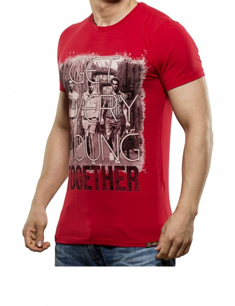 Young together T-Shirt Herren Oberteil T-Shirt 13-2023_Red Hip hop Tee