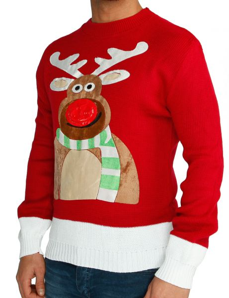 Festive Christmas Sweater Rudolph Flashing Nose Red
