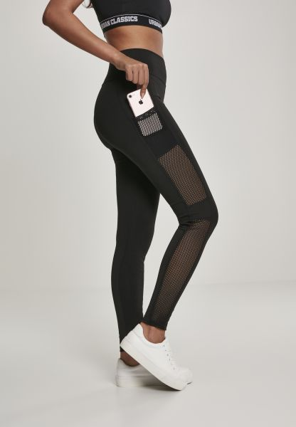 Ladies Mesh Side Stripe Leggings TB3005-00007 Black