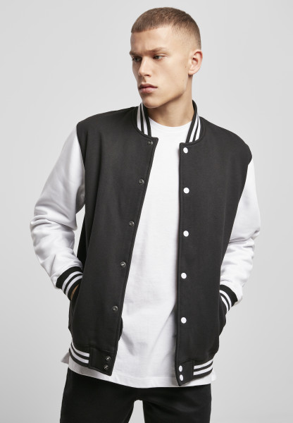 MENS Basic Sweat College Jacket blk/wht BY015-20050