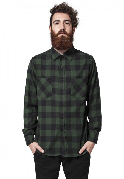 Urban Classics Checked Flanell Shirt blk/forest TB297-00650 Black
