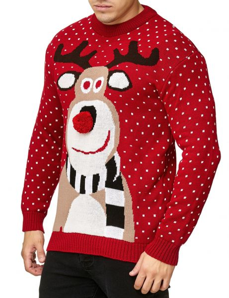 Festive Christmas Rudolph The Red Nosed Sweater Red Black