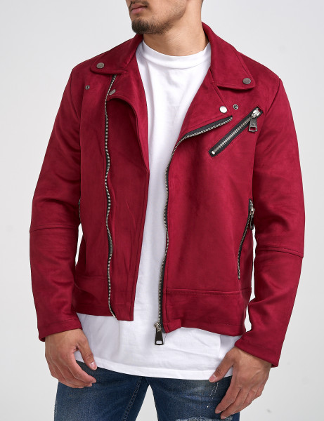 Ecobar Mens Suede Casual Jacket P-171 Red
