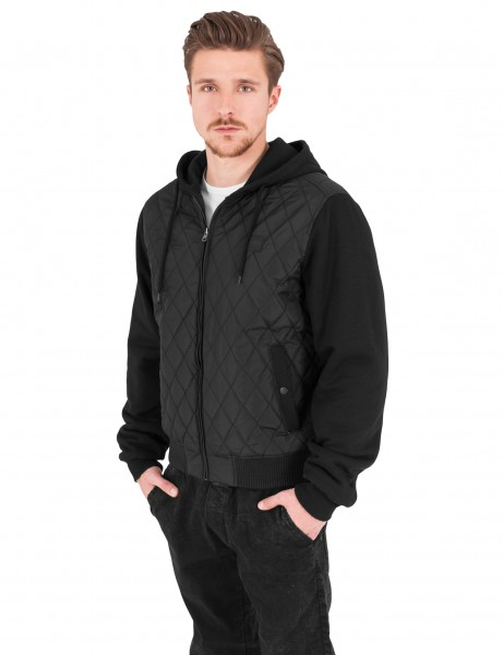 Urban Classics Hooded Diamond Quilt Nylon Jacket TB1149 Black