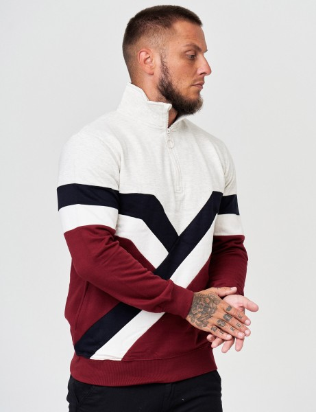 Soul Star MSW AQ5 Mens 1/4 Zip Up with Retro Stripes Red