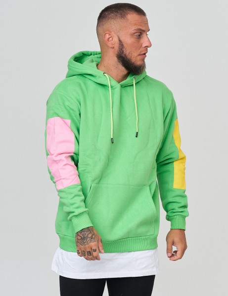 French Fashion K-223 Mens Basic Patch Hoodie Green