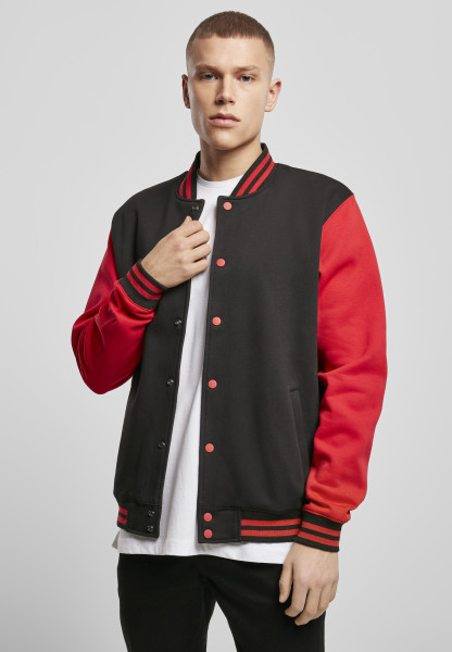 MENS Basic Sweat College Jacket blk/red BY015-20044