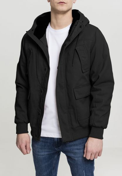 Urban Classics Hooded Cotton Jacket TB2422-00007 Black