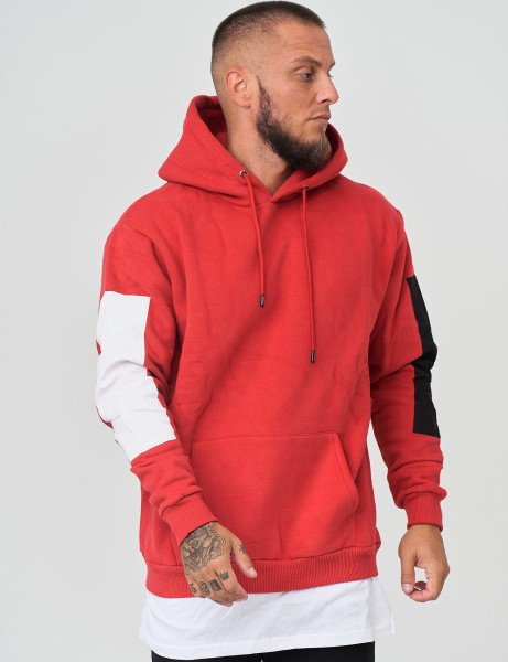 French Fashion K-223 Mens Basic Patch Hoodie Red