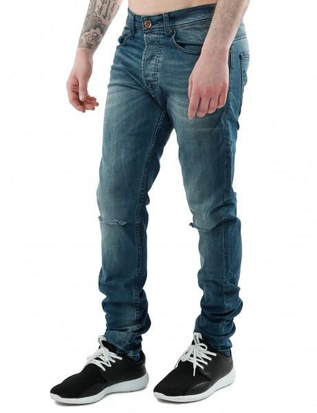 Free Side Red Perle Jeans Indigo Blue