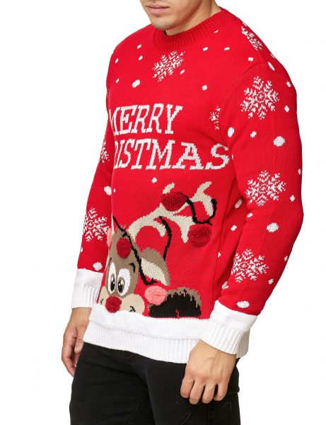 Festive Merry Christmas Snowflakes Sweater Red